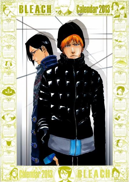 Tags: Anime, Kubo Tite, BLEACH, Ishida Uryuu, Kurosaki Ichigo, Official Art, Calendar (Source), Mobile Wallpaper, Calendar 2013