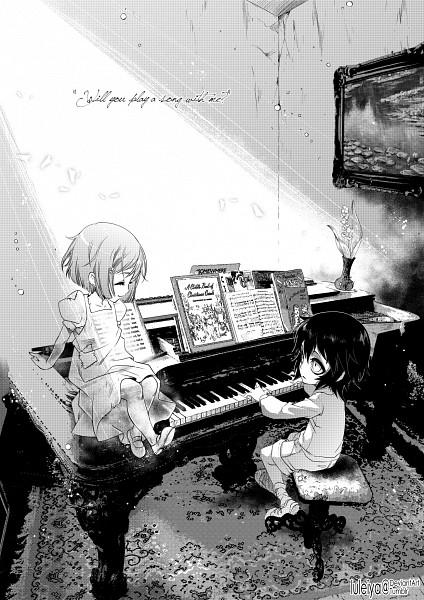 Tags: Anime, Luleiya, BLEACH, Ulquiorra Schiffer, Inoue Orihime, Painting (Object), Invisible, Sheet Music, Shun Shun Rikka (Pin), Mobile Wallpaper, deviantART, UlquiHime