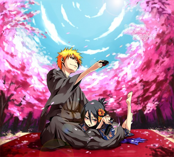 Tags: Anime, Tr Dan, BLEACH, Kuchiki Rukia, Kurosaki Ichigo, Spring, Pixiv, Fanart, Fanart From Pixiv, PNG Conversion, IchiRuki