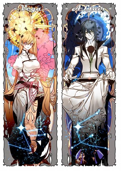 Tags: Anime, Pixiv Id 4802174, BLEACH, Ulquiorra Schiffer, Inoue Orihime, Constellation, Arrancar Clothes, Shun Shun Rikka (Pin), Hole, Mobile Wallpaper, Fanart, Pixiv, Fanart From Pixiv