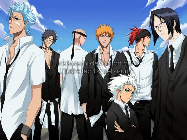 Tags: Anime, Nekozumi, BLEACH, Madarame Ikkaku, Kurosaki Ichigo, Hitsugaya Toushirou, Ishida Uryuu, Grimmjow Jeagerjaques, Hisagi Shuuhei, Abarai Renji, Ohayo, deviantART, Fanart