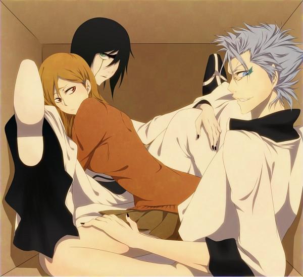 Tags: Anime, Eri (Pixiv Id 777371), BLEACH, Grimmjow Jeagerjaques, Ulquiorra Schiffer, Inoue Orihime, In a Box, Threesome, Fanart, Espada