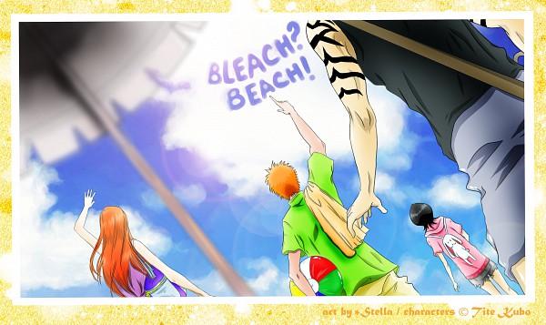 Tags: Anime, Kotik-stells, BLEACH, Abarai Renji, Kurosaki Ichigo, Inoue Orihime, Kuchiki Rukia, Wallpaper, Gotei 13