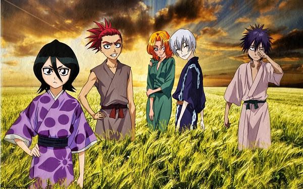 Tags: Anime, BLEACH, Kuchiki Rukia, Hisagi Shuuhei, Abarai Renji, Ichimaru Gin, Matsumoto Rangiku, Wheat, Wallpaper, Gotei 13
