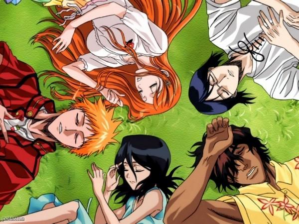"Tags: Anime, BLEACH, Yasutora ""Chad"" Sado, Inoue Orihime, Kuchiki Rukia, Ishida Uryuu, Kurosaki Ichigo, Laying in Circle, Official Art, Wallpaper"