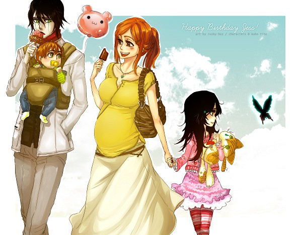 Tags: Anime, Rusky-boz, BLEACH, Ulquiorra Schiffer, Inoue Orihime, Hell Butterfly, Pregnant, Fanart