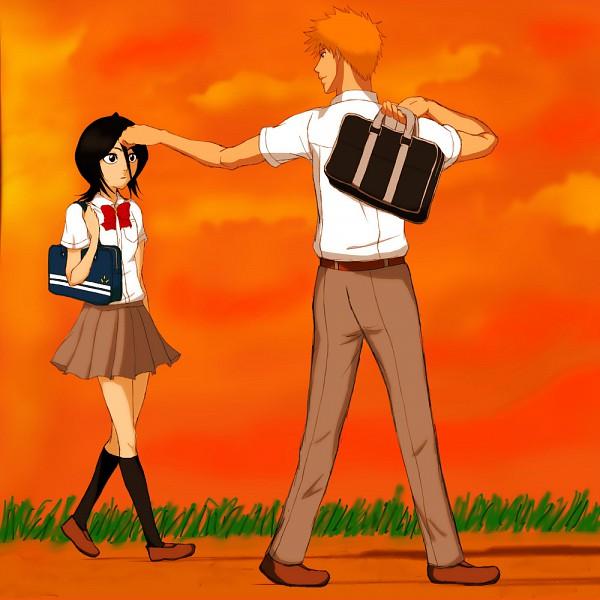 Tags: Anime, BLEACH, Kuchiki Rukia, Kurosaki Ichigo, School Uniform (BLEACH), Gotei 13