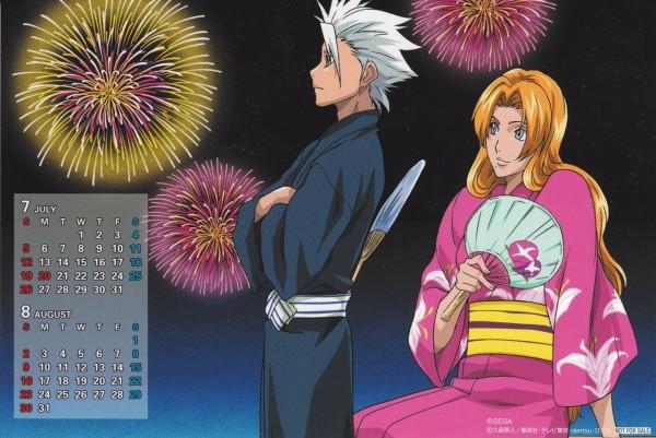 Tags: Anime, Kubo Tite, BLEACH, Matsumoto Rangiku, Hitsugaya Toushirou, Uchiwa, Scan, Official Art, Calendar (Source), 10th Squad