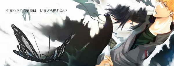 Tags: Anime, Pikeish, BLEACH, Kuchiki Rukia, Kurosaki Ichigo, Hell Butterfly, Facebook Cover, Fanart, IchiRuki