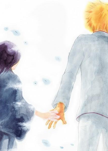 Tags: Anime, Pixiv Id 1338981, BLEACH, Kurosaki Ichigo, Kuchiki Rukia, Disappearing, Pixiv, Mobile Wallpaper, Gotei 13