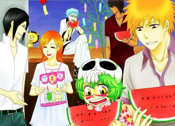 "Tags: Anime, Pixiv Id 2758511, BLEACH, Neliel Tu Oderschvank, Inoue Orihime, Kurosaki Ichigo, Grimmjow Jeagerjaques, Kon (BLEACH), Chappy, Ishida Uryuu, Yasutora ""Chad"" Sado, Stuffed Lion, Espada"