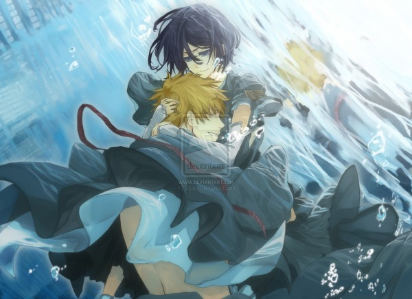 Tags: Anime, Pikeish, BLEACH, Kuchiki Rukia, Kurosaki Ichigo, Head on Chest, Fanart, deviantART, IchiRuki