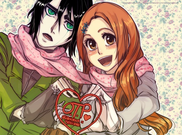 Tags: Anime, Rusky-boz, BLEACH, Ulquiorra Schiffer, Inoue Orihime, Heart Gesture Duo, Text: Couple Name, Tumblr, Fanart, BLEACH: After Timeskip, UlquiHime