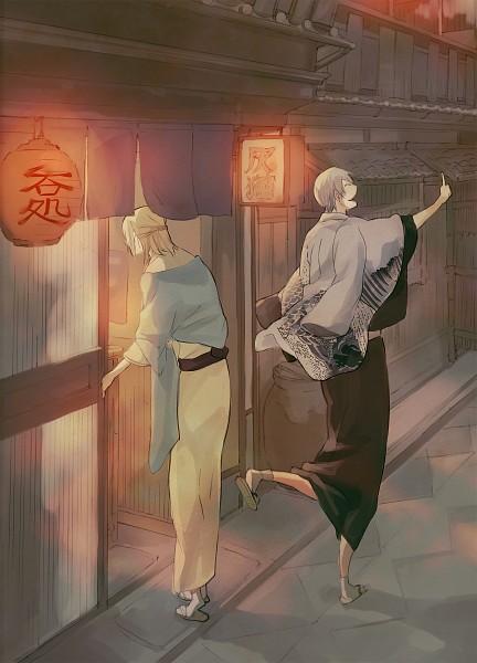 Tags: Anime, Anbe (Pixiv223852), BLEACH, Kira Izuru, Ichimaru Gin, Paper Lantern, Mobile Wallpaper, Gotei 13