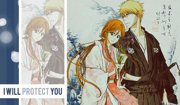 Tags: Anime, BLEACH, Kurosaki Ichigo, Inoue Orihime, Wallpaper