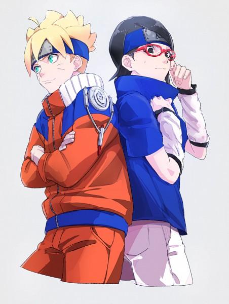 Tags: Anime, Kawara, BORUTO: Naruto Next Generations, NARUTO, Uzumaki Boruto, Uchiha Sarada, Uzumaki Naruto (Cosplay), Uchiha Sasuke (Cosplay), PNG Conversion, Fanart, Mobile Wallpaper, BoruSara
