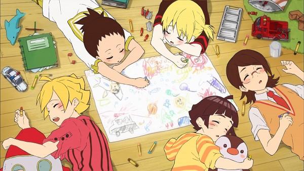 Tags: Anime, Pixiv Id 8088802, BORUTO: Naruto Next Generations, NARUTO, Uchiha Sarada, Uzumaki Himawari, Yamanaka Inojin, Nara Shikadai, Uzumaki Boruto, Crayon, Drawing (Action), Free! (Parody), Hugging Toy