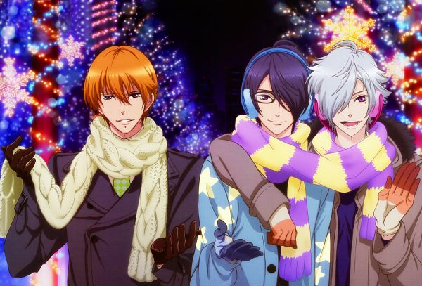 Tags: Anime, Brains Base (Studio), BROTHERS CONFLICT, Asahina Tsubaki, Asahina Azusa, Asahina Natsume, Christmas Lights, Triplets, Official Art, Magazine (Source), Scan, Otomedia (Magazine)