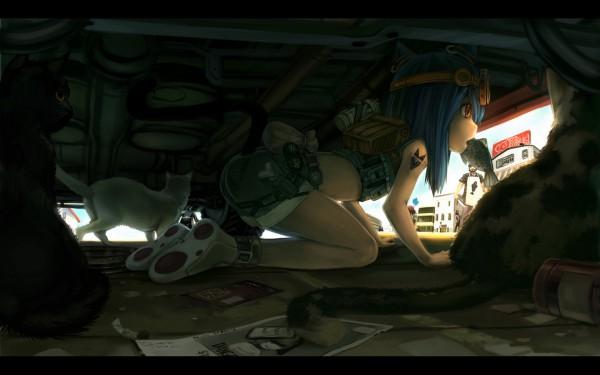 Tags: Anime, Babycat, White Cat, 1440x900 Wallpaper, Crawl, Pixiv, Original, Wallpaper