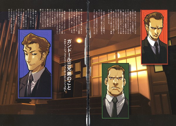 Tags: Anime, Baccano!, Keith Gandor, Luck Gandor, Berga Gandor, Official Art, Scan