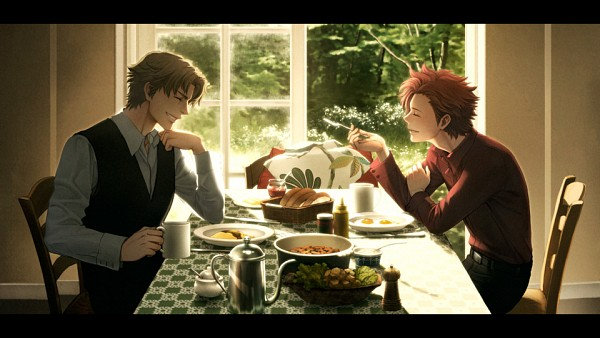 Tags: Anime, Baccano!, Ladd Russo, Claire Stanfield, Morning, Breakfast, Facebook Cover