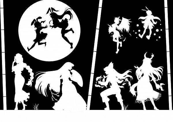 Tags: Anime, Kitazinger, Imperishable Night, Touhou, Mystia Lorelei, Fujiwara no Mokou, Yagokoro Eirin, Inaba Tewi, Kamishirasawa Keine, Reisen Udongein Inaba, Houraisan Kaguya, Ex Keine, Wriggle Nightbug