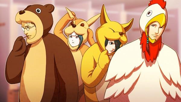 Tags: Anime, IDEA FACTORY, Bakudan Handan, Urabe Kimimaro, Shirabe Ayumu, Meoshi Kouta, Wakasa Towa, Bear Costume, Chicken