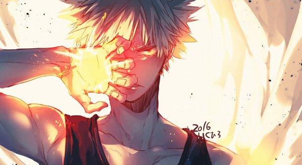 Tags: Anime, Pixiv Id 6266130, Boku no Hero Academia, Bakugou Katsuki, Gritted Teeth, Hand Over One Eye, Explosion, Pixiv, Wallpaper, Fanart From Pixiv, Fanart