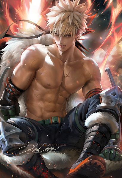 Tags: Anime, Sakimichan, Boku no Hero Academia, Bakugou Katsuki, Fanart, Fanart From Pixiv, deviantART, Pixiv