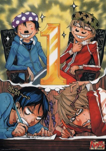 Tags: Anime, Obata Takeshi, Bakuman。, Takagi Akito, Mashiro Moritaka, Drawing (Action), Thinking, Official Art, Scan, Mobile Wallpaper, Ashirogi Muto