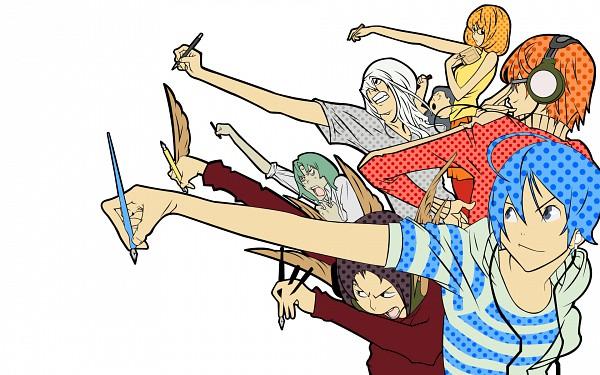 Tags: Anime, Obata Takeshi, Bakuman。, Mashiro Moritaka, Nakai Takuro, Fukuda Shinta, Niizuma Eiji, Aoki Yuriko, Takagi Akito, Hiramaru Kazuya, Wallpaper, Ashirogi Muto