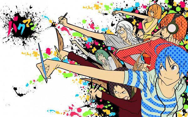 Tags: Anime, Bakuman。, Mashiro Moritaka, Fukuda Shinta, Niizuma Eiji, Takagi Akito, Drawing (Action), Wallpaper, Ashirogi Muto