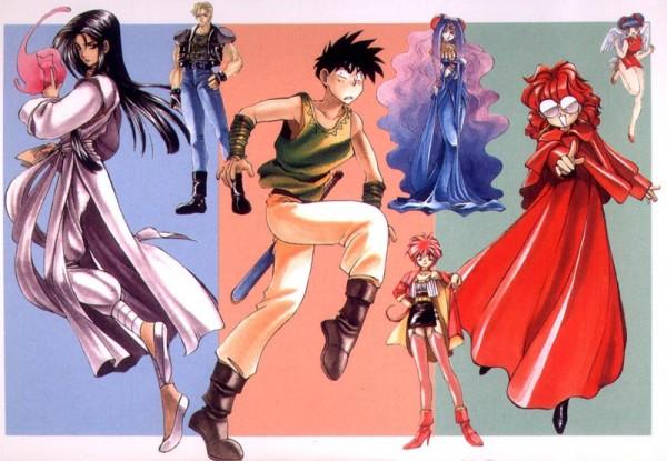 Tags: Anime, Bakuretsu Hunters, Carrot Glace, Tira Misu (Bakuretsu Hunters), Dota (Bakuretsu Hunters), Marron Glace, Chocolate Misu, Official Art