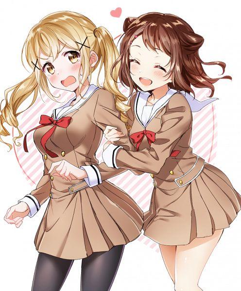 Tags: Anime, Pixiv Id 13168349, BanG Dream!, Toyama Kasumi, Ichigaya Arisa, Hugging Arm, PNG Conversion