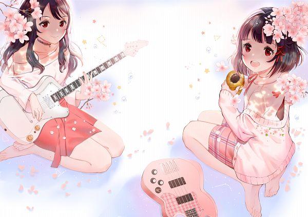 Tags: Anime, Pixiv Id 8305486, BanG Dream!, Ushigome Rimi, Ushigome Yuri, Playing Guitar, Pixiv, Fanart, Fanart From Pixiv