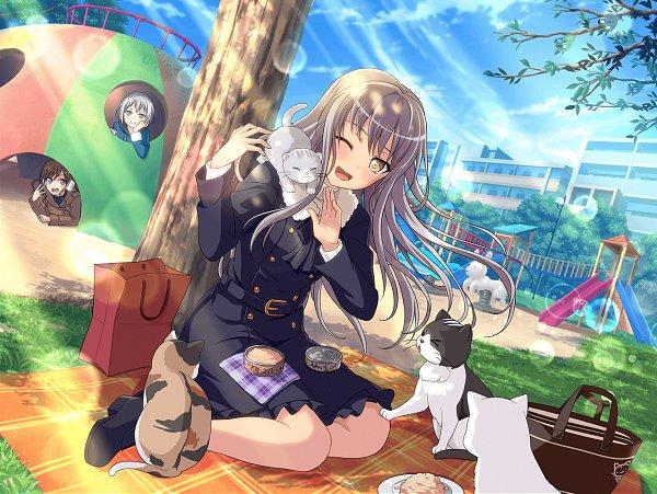 Tags: Anime, Craft Egg, BanG Dream! Girls Band Party!, Minato Yukina, Aoba Moca, Imai Lisa, Cat Food, Official Card Illustration, Official Art