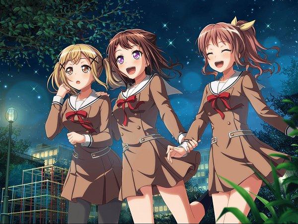 Tags: Anime, Craft Egg, BanG Dream! Girls Band Party!, BanG Dream!, Toyama Kasumi, Ichigaya Arisa, Yamabuki Saaya (BanG Dream!), Official Card Illustration, Official Art