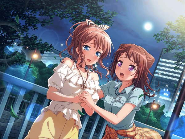 Tags: Anime, Craft Egg, BanG Dream! Girls Band Party!, BanG Dream!, Yamabuki Saaya (BanG Dream!), Toyama Kasumi, Official Card Illustration, Official Art