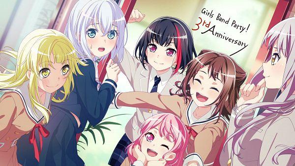 Tags: Anime, Craft Egg, BanG Dream! Girls Band Party!, BanG Dream!, Maruyama Aya, Mitake Ran, Toyama Kasumi, Tsurumaki Kokoro, Kurata Mashiro, Minato Yukina, Text: Anniversary, Official Art
