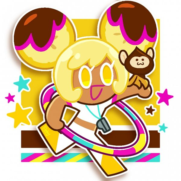 Tags: Anime, Darkerload, Cookie Run, Choco Monkey, Banana Cookie, Hoop, Whistle (Object), Fanart From Pixiv, Pixiv, Fanart