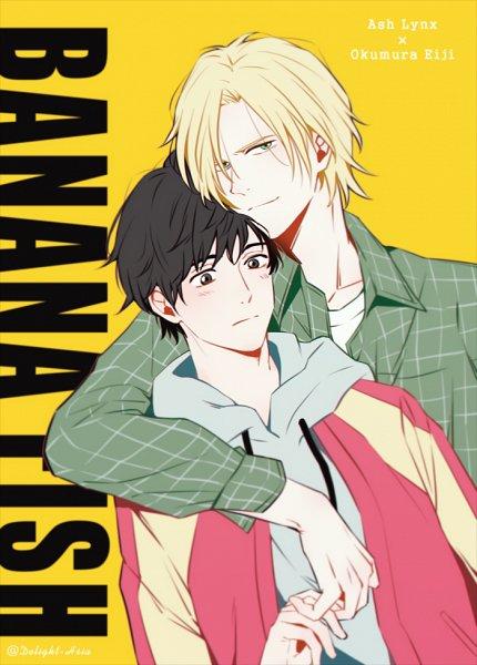 Tags: Anime, Pixiv Id 13103424, Banana Fish, Ash Lynx, Okumura Eiji, Touching Fingers, Text: Couple Name, Fanart From Pixiv, Pixiv, Fanart