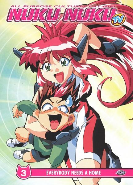 "Tags: Anime, Takada Yuuzou, Studio Fantasia, Bannou Bunka Neko-Musume, Natsume Ryunosuke, Atsuko ""Nuku Nuku"" Natsume, DVD (Source), Official Art, Scan, All Purpose Cultural Cat Girl Nuku Nuku"