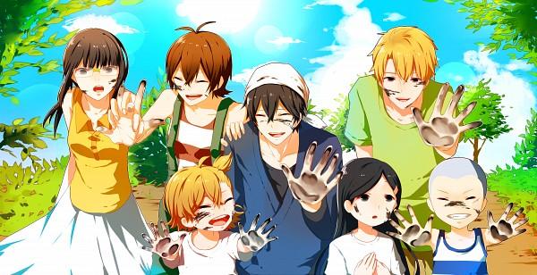 Tags: Anime, Pixiv Id 3703408, Barakamon, Kotoishi Naru, Yamamura Miwa, Kubota Hina, Arai Tamako, Handa Seishuu, Kido Hiroshi, Oohama Kentarou, Paint On Face, Fanart From Pixiv, Pixiv
