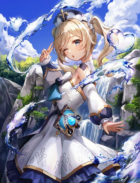 Tags: Anime, Pixiv Id 15657814, Genshin Impact, Barbara (Genshin Impact), Waterfall