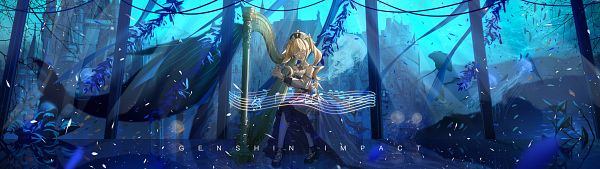 Tags: Anime, Pixiv Id 25295189, Genshin Impact, Barbara (Genshin Impact), Jellyfish, Whale, Harp, Stingray, Aquarium
