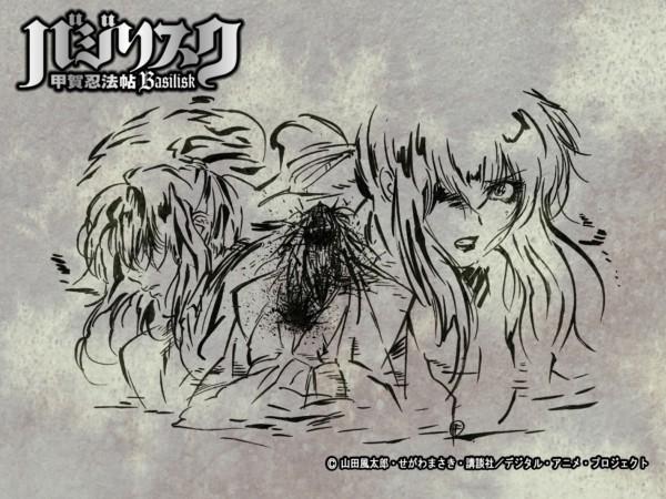 Tags: Anime, Basilisk, Kouga Gennosuke, Oboro, Yakushiji Tenzen, Official Art