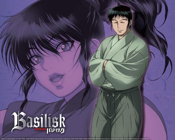 Tags: Anime, GONZO (Studio), Basilisk, Okoi (Basilisk), Kisaragi Saemon, Official Art, Wallpaper