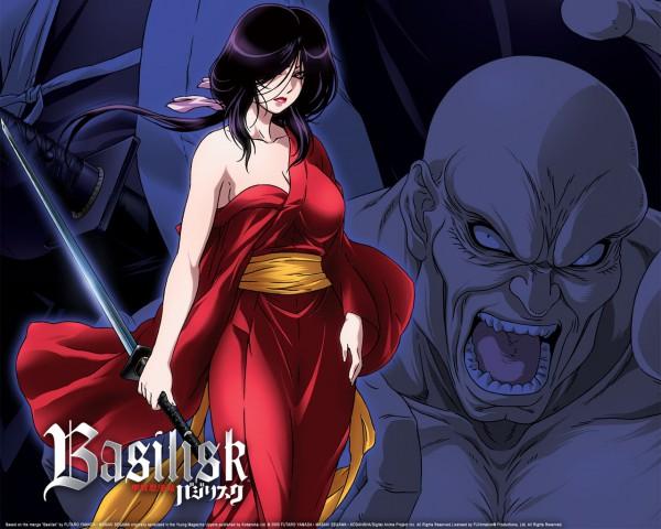 Tags: Anime, GONZO (Studio), Basilisk, Kasumi Gyobu, Akeginu, Official Art, Wallpaper