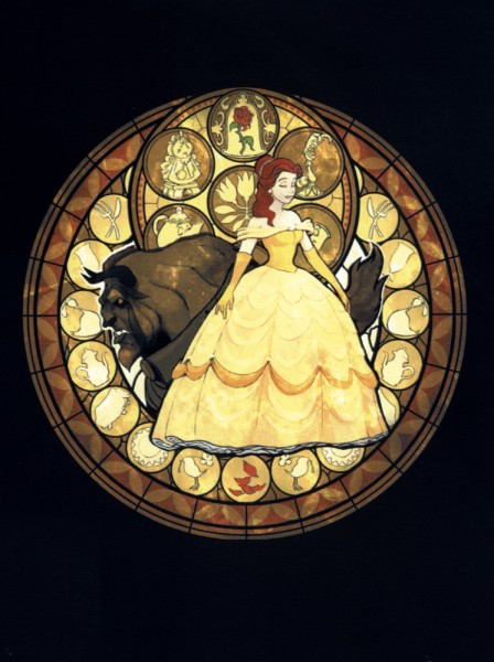 Tags: Anime, SQUARE ENIX, Beauty and the Beast, Kingdom Hearts, Beast (Beauty and the Beast), Belle (Beauty and the Beast), Beast, Princesses Of Heart, Stained Glass, Round Window, Official Art, Disney