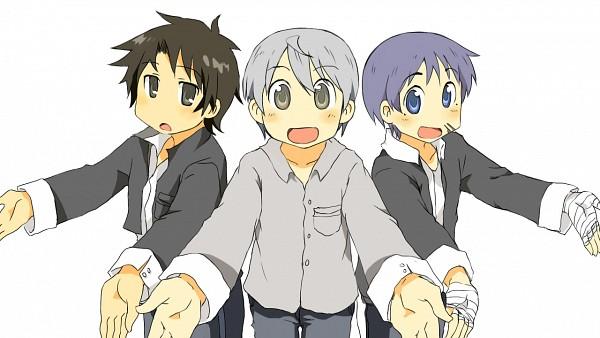 Tags: Anime, Cako., Beelzebub, Oga Tatsumi, Miki Hisaya, Nichijou (Parody), Fanart, Nichijou Art Style, Pixiv, Wallpaper